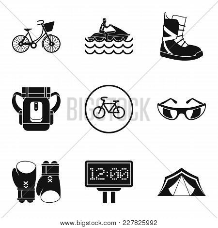 Sport Weekend Icons Set. Simple Set Of 9 Sport Weekend Vector Icons For Web Isolated On White Backgr