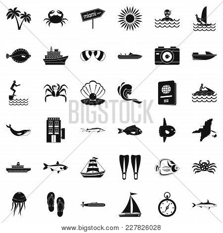 Ocean Bottom Icons Set. Simple Set Of 36 Ocean Bottom Vector Icons For Web Isolated On White Backgro