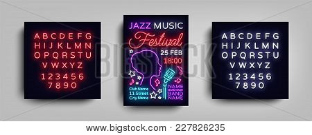 Jazz Festival Poster Neon. Neon Sign, Neon Style Brochure, Design Invitation Template, Light Banner,