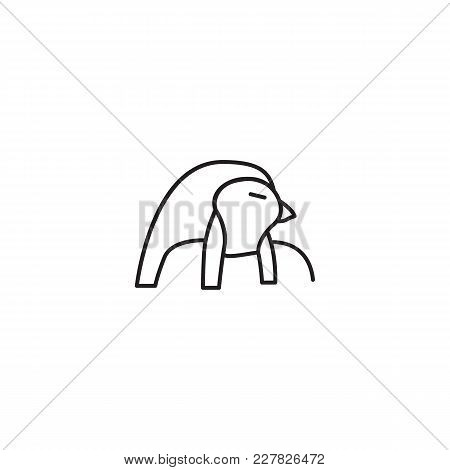 Egyptian God Ra Icon In Line Style. Egypt God Ra Object Vector Illustration Isolated On White Backgr