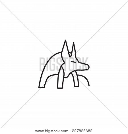 Egyptian God Anubis Icon In Line Style. Egypt God Anubis Object Vector Illustration Isolated On Whit