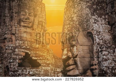 Bayon Face Over Sunset, Angkor Wat Cambodia, Unesco Herritage