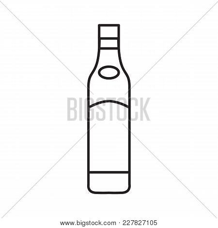 Alcohol Bottle Outline Icon. Vector Object In Line Stile Beer Bottle Icon For Drinks Design, Menue A