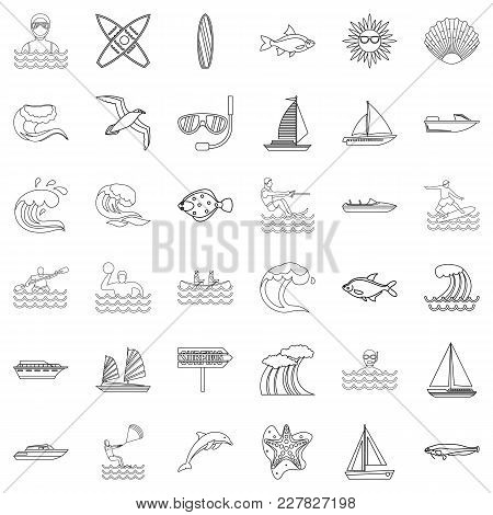 Oceanological Icons Set. Outline Set Of 36 Oceanological Vector Icons For Web Isolated On White Back