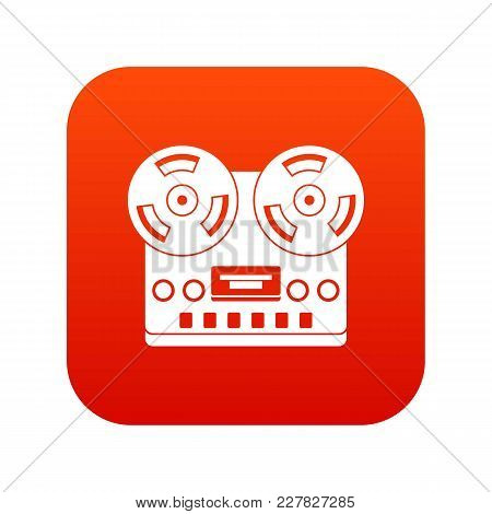 Retro Tape Recorder Icon Digital Red For Any Design Isolated On White Vector Illustration