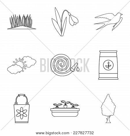 Spring Period Icons Set. Outline Set Of 9 Spring Period Vector Icons For Web Isolated On White Backg