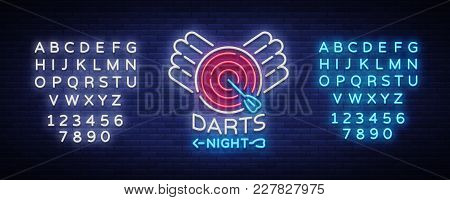 Darts Neon Sign. Vector Illustration. Bright Nightly Darts Advertising, Neon Logo, Symbol, Lightweig
