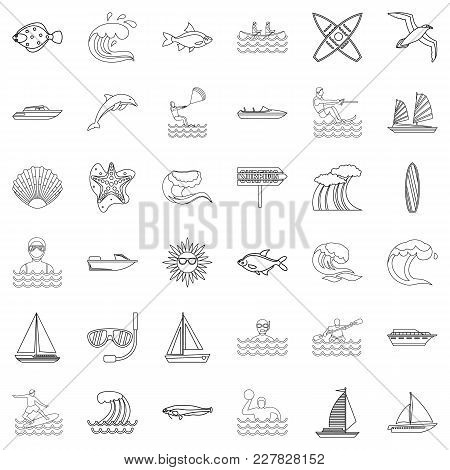 Running Water Icons Set. Outline Set Of 36 Running Water Vector Icons For Web Isolated On White Back