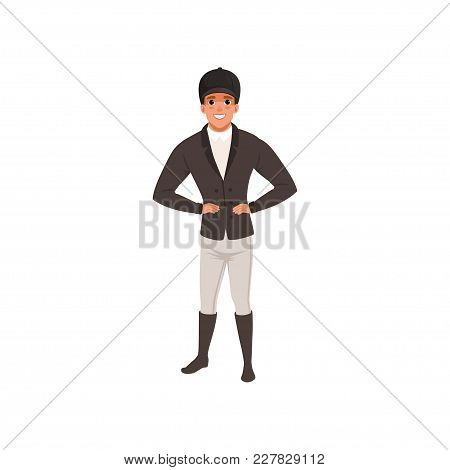 Jockey Man In Costume, Equestrian Professional Sport Vector Illustration   On A White Background
