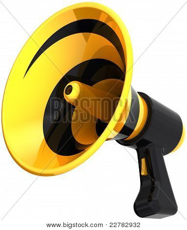 Megaphone communication announcement propaganda colorful yellow black. Bullhorn loudspeaker news message icon. Advertise notify warning concept poster