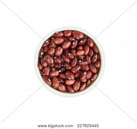 Kidney Beans Isolated On White Background. Top View. Red Kidney Beans In A Bowl Isolated On White Ba