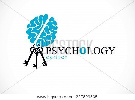 Human Anatomical Brain With Keys As A Keychain, Mental Health Psychology Conceptual Logo Or Icon, Ps