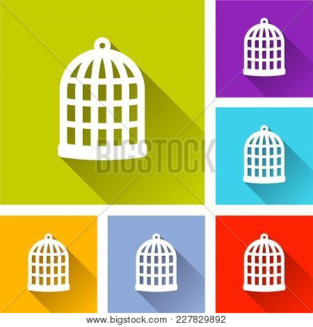 Illustration Of Bird Cage Icons With Shadow
