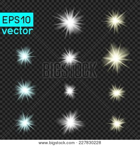 Lamps Or Star Vector Light Set Template On Dark Transparent Background. Shiny Flash Lamp Concept Col