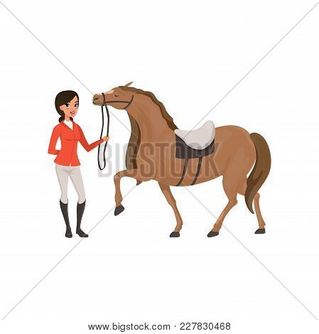 Jockey Girl And Thoroughbred Horse, Equestrian Professional Sport Vector Illustration On A White Bac