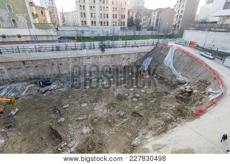 Milan, Italy - September 19,2017: Construction Site Of New Skyscraper Unipol Headquarter Designed By