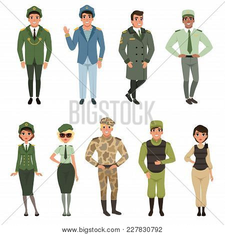Military Uniforms Set, Military Army Officer, Commander, Soldier, , Pilot, Trooper, Navy Captain Vec