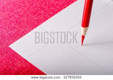 Red Pencil Close-up. Stationery. Office Tool. Back To School. Copyspace.