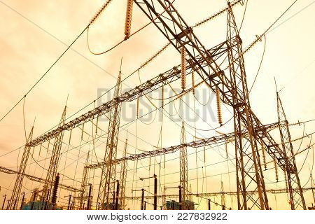 Electric Substation In Brazil At Sunset, South America