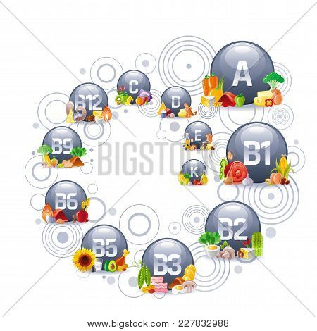 Mineral Vitamin Multi Supplement Icons. Multivitamin Complex Flat Vector Icon Set, Logo Isolated Whi