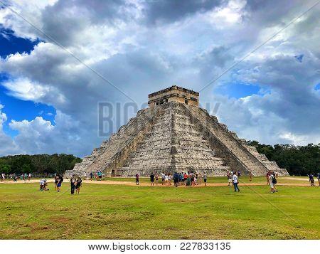 Chichen Itza, Mexico - January 28, 2018: Majestic Ruins In Chichen Itza,mexico.its A Complex Of Maya