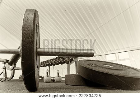 Interior Of Empty Gym Room, Sepia Toning