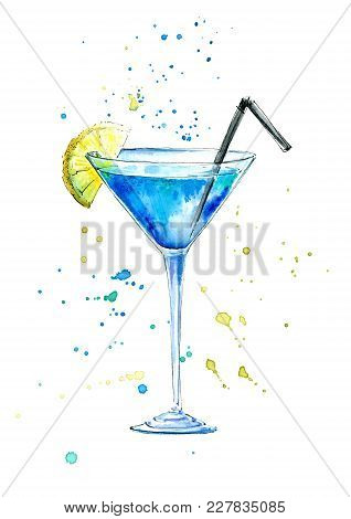 Glass Of A Blue Lagoon Cocktail And Splash.martini, Liquor And Vodka Ingredients .picture Of A Alcoh