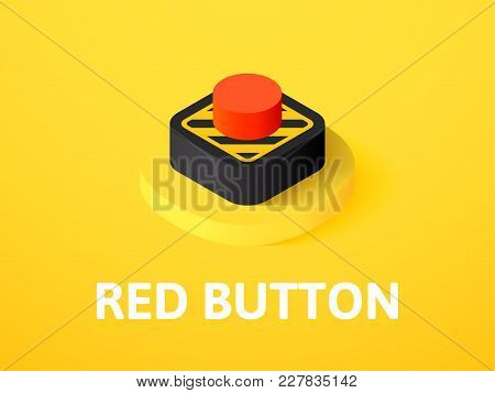 Red Button Icon, Vector Symbol In Flat Isometric Style Isolated On Color Background