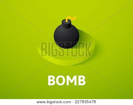 Bomb Icon, Vector Symbol In Flat Isometric Style Isolated On Color Background