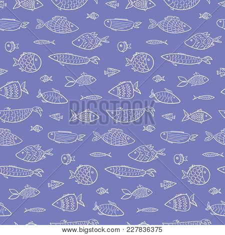Marine Kids Seamless Pattern With White Outline Cute Cartoon Fishes On Blue Water Background. Styliz