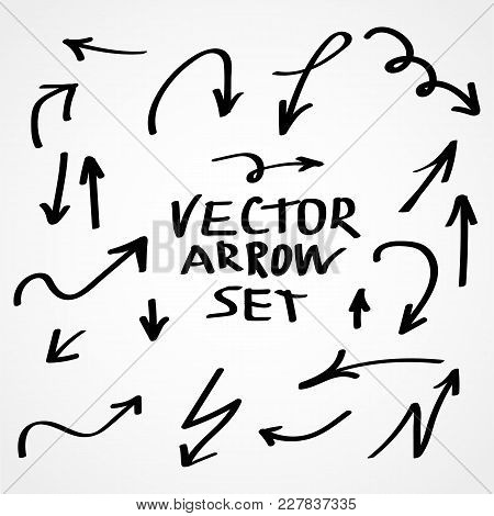 Illustration Of Grunge Sketch Handmade Watercolor Doodle Vector Arrow Set
