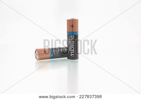 Gomel, Belarus - February 22, 2018: Alkaline Batteries Lr6 From Duracell