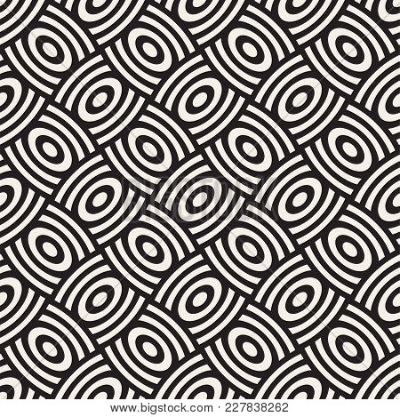 Vector Geometric Seamless Pattern With Curved Shapes Grid. Abstract Monochrome Rounded Lattice Textu