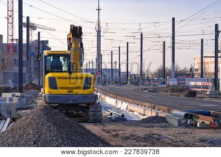 Construction Of The New Railway Tram Line Or Tramway And Installation Of Rails In The Residential Di