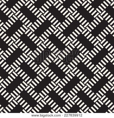 Trendy Monochrome Twill Weave Lattice. Abstract Geometric Background Design. Vector Seamless Black A
