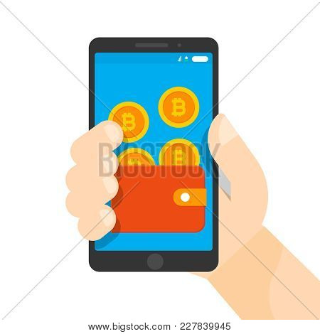 Online Purse With Bitcoins On Smart Phone. Hand Holding Phone. Crypto Currency Poured (replenishes)