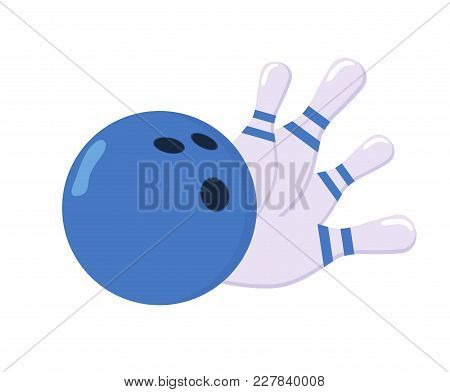 Set For Bowling. A Ball And Four Pins. The Ball Knocks Down Skittles. The Concept Of A Sports Game.