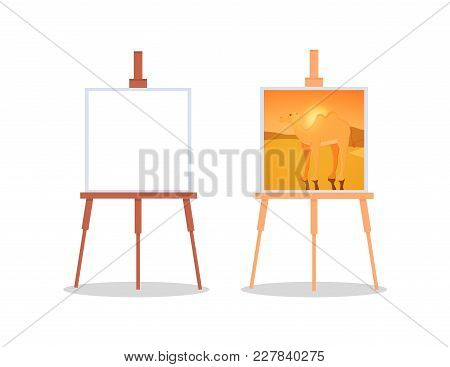 A Wooden Easel With A White Canvas Inside. White Paper Is Fixed On A Wooden Stand. Template For Mock