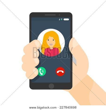Black Phone Interface. Incoming Call On Smartphone Screen. Hand Hold Mobile. Calling Service. Flat V