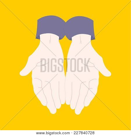 Young Man Pair Of Hands With Exposed Palm. Human Hands. Concept Of Request Or Donation. Open Hands I