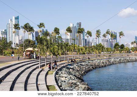 Panama City, Panama -  February 14, 2018: Panoramic View Of Panama City Skyline - Panama City, Panam