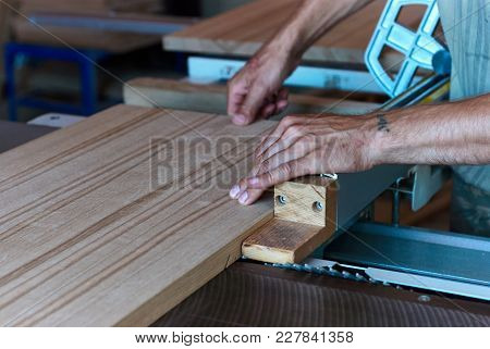 Panel Squaring Saw Before Sawing A Thick Edged Oak Board