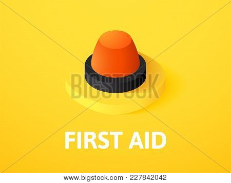 First Aid Icon, Vector Symbol In Flat Isometric Style Isolated On Color Background