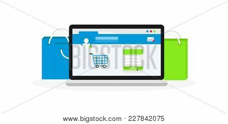 Computer With Shopping Bags. Online Market On Laptop Screen. Concept Of E-commerce And Online Shoppi