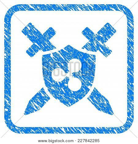 Ripple Shield Swords Rubber Seal Stamp Imitation. Icon Vector Symbol With Grunge Design And Dust Tex