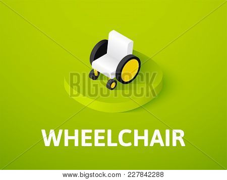 Wheelchair Icon, Vector Symbol In Flat Isometric Style Isolated On Color Background