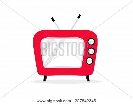 Bright Red Stylish Retro Tv With Antenna. Vintage Television Icon. Media Technology Concept. World T