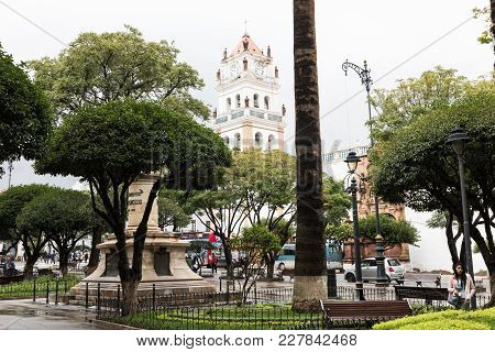 Sucre, Boliwia - February 08, 2018:  Main Square And The Statue Of Jose Antonio De Sucre. Sucre Is T