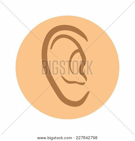 Human Ear Icon. Vector Pictogram Illustration, Isolated On White Background.