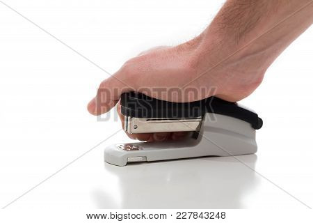 Isolated Stapler Against A White Background In A Studio